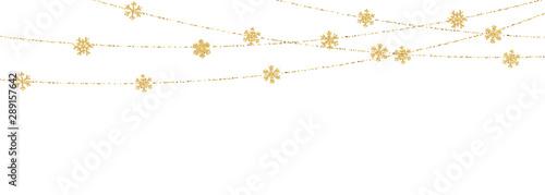 Fotografia  Christmas or New Year golden snowflake decoration garland on white background