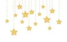 Gold Handing Shiny Glitter Glowing Star Isolated On White Background. Vector Illustration