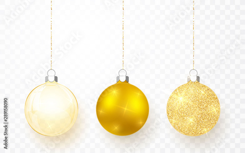 Poster Bol Gold shiny glitter glowing and transparent Christmas balls. Xmas glass ball on transparent background. Holiday decoration template. Vector illustration