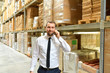 businessman/manager on the phone in the warehouse of a company