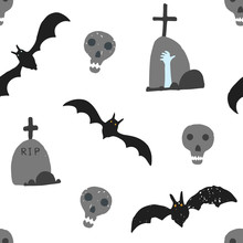 Hand Drawn Halloween Pattern With Skull, Black Rat And Grave Stone With Blue Hand. Creepy Autumn Holiday Texture For Textile, Wrapping Paper, Cover, Background, Wallpaper, Surface, Web Design