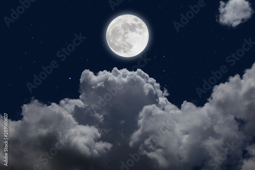 Fototapety, obrazy: Full moon with starry and clouds background. Romantic night.