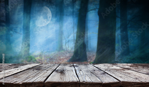 Empty wooden table - Halloween background - 289160668