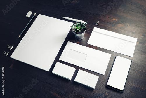 Fototapeta Blank stationery set on wood table background. Corporate identity template. Branding mock-up. obraz