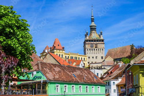 Sighisoara, Romania, May 15, 2019: Old and colorful houses in Sighisoara citadel Tablou Canvas