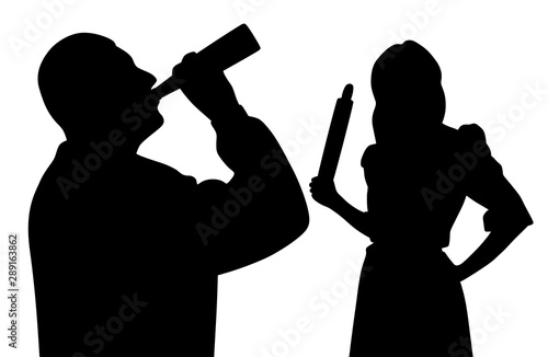 Fototapeta  Husband drinking alcohol from bottle and angry wife holding rolling pin
