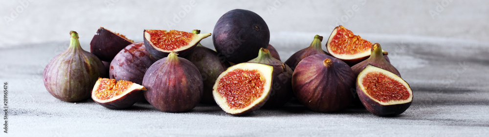Fototapety, obrazy: Fresh figs. Food Photo. whole and sliced figs on beautiful rustic background.