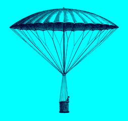 Historic frameless parachute by André-Jacques Garnerin from 1797 descending. Illustration after an etching from the early 19th century. Editable in layers