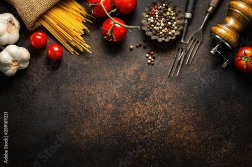 Fototapeta  Italian food background with ingredients