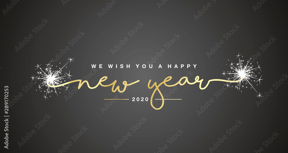 Fototapeta We wish you Happy New Year 2020 handwritten lettering tipography sparkle firework gold white black background