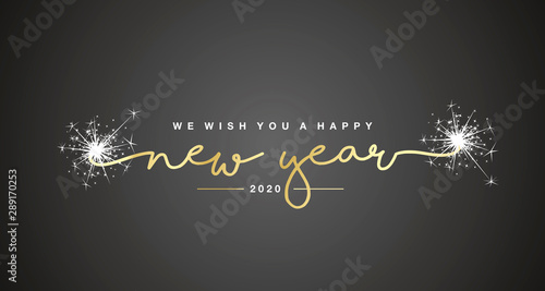 We wish you Happy New Year 2020 handwritten lettering tipography sparkle firewor Wallpaper Mural