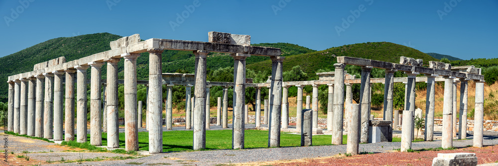 Fototapety, obrazy: Ancient greek temple of Hercules with columns in ancient city of Messini, Peloponnese, Greece
