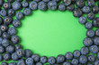 canvas print picture - Frame of ripe blueberries on green background, flat lay with space for text