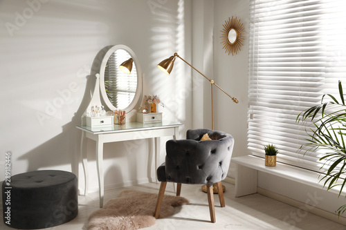 Fotografie, Tablou Stylish room interior with elegant dressing table