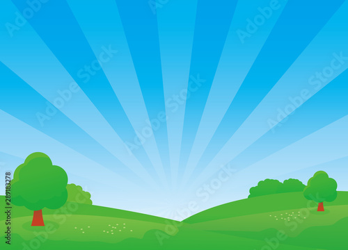 Poster Bleu Nature landscape vector illustration with blue sky and green meadow. Field vector illustration
