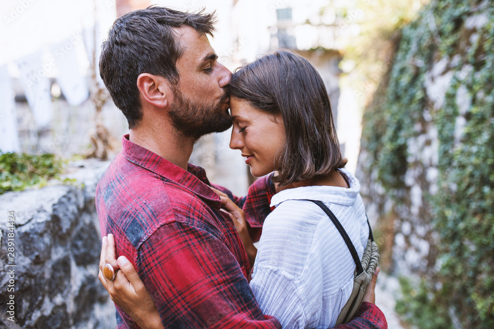Fototapeta Close-up of a young couple romancing
