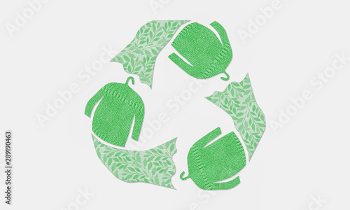 autumn winter jumpers recycle clothes symbol recycle sign, sustainable fashion concept