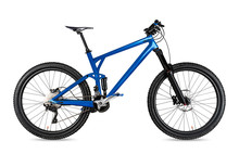 Blue Enduro Carbon All Mountain Bike With Full Supsension And 650b Wheels. Fully Mountainbike For Offroad Bicycle Extreme Sport Isolated  White Background