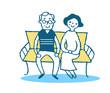 ベンチに座る老夫婦 イエロー
