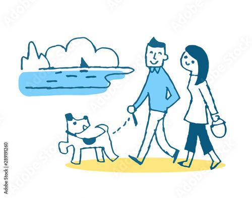 Cuadros en Lienzo 海辺を散歩するカップル ブルー