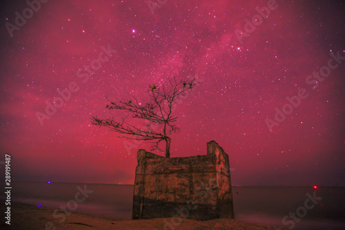 Abstract background of celestial stars, blurred wallpaper of the Milky Way at night, is a natural beauty. Seen during the time of the season