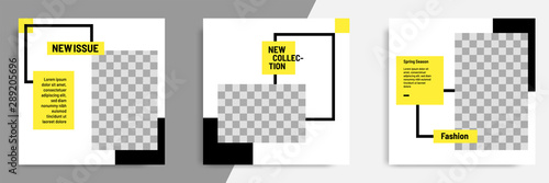 Minimal / minimalist square geometric banner template for social media post. Black, yellow and white background color.