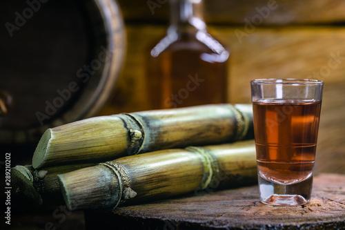 shot glasses of Brazilian gold cachaca with sugar and sugarcane isolated on rust Billede på lærred