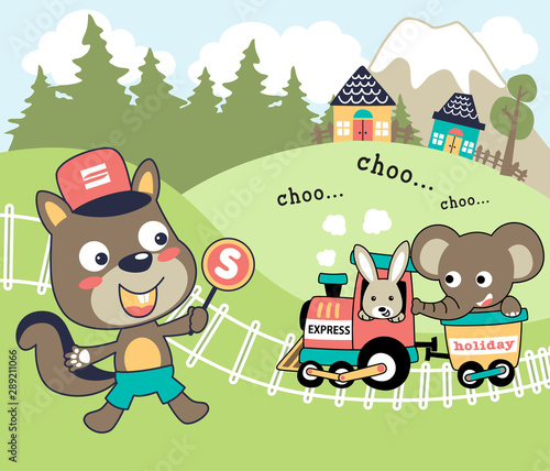 Poster Castle animals trip with steam train, bunny and elephant on train, squirrel the doorman rail, vector cartoon