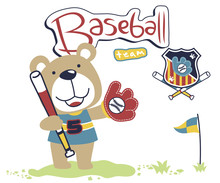 Little Bear The Baseball Player, Vector Cartoon Illustration
