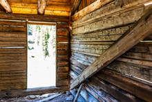 Independence Pass Mining Townsite Wooden Cabin Interior In White River National Forest In Colorado