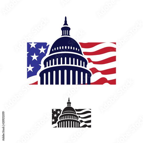 Fotografia, Obraz  Government icon Premium Creative Capitol building logo vector design Iconic Land