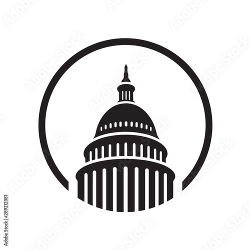 Leinwand Poster  Premium Creative Landmark Capitol building logo vector design Iconic illustratio