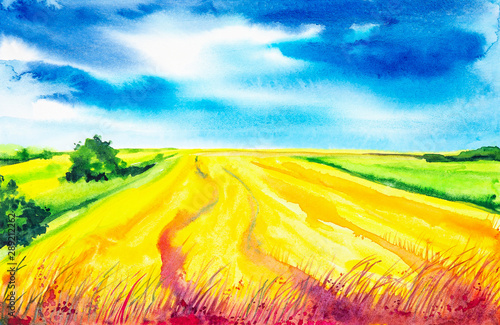 Foto op Aluminium Geel Plowed Russian field with forest in the background and grass in the foreground. Watercolor illustration of a rural location