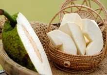 Close Up Breadfruit Cut In Hal...