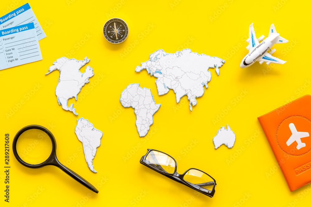 Fototapety, obrazy: Planning a travel concept. Sketchy map of the world on yellow background top view