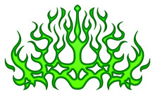 Green Tribal Flames, Sticker On The Hood. Car Bike Vehicle Graphics, Vinyls & Decals. Abstract Flame, Vector Illustration.
