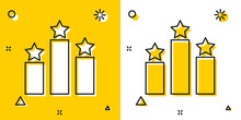 Black Ranking Star Icon Isolated On Yellow And White Background. Star Rating System. Favorite, Best Rating, Award Symbol. Random Dynamic Shapes. Vector Illustration