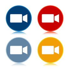 Video Camera Icon Trendy Flat Round Buttons Set Illustration Design