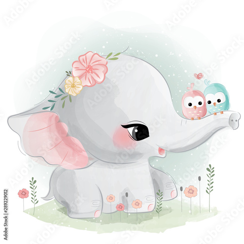 cute-elephant-with-little-birds-on-his