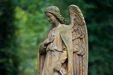 Sculpture Of Angel At A Prague Cemetery. Czech Republic. Sculpture Elements.