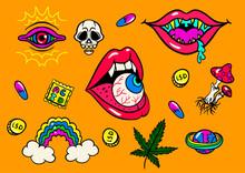 Psychedelic Trip Symbols : LSD, Weed, Skull, Eyeball, Rainbow, Drugs