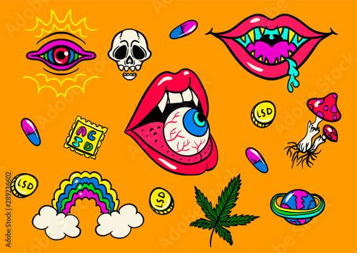psychedelic trip symbols : LSD, weed, skull, eyeball, rainbow, drugs Wallpaper Mural