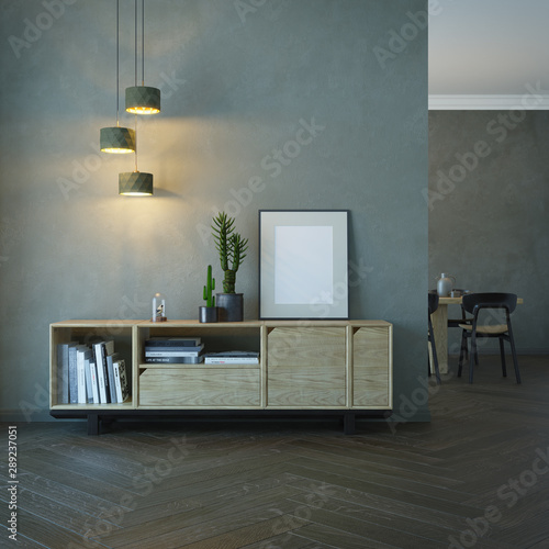 living room interior with wooden sideboard, 3d rendering Fototapet