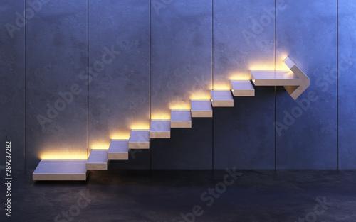 Cuadros en Lienzo  stairs going  upward, 3d rendering