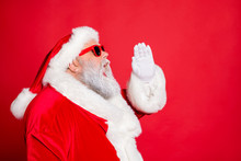 Profile Side Photo Of Funny Santa Claus Screaming Promotion Newyear Resolution Wearing Eyeglasses Eyewear Bright Hat Isolated Over Red Background