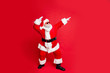 canvas print picture Full length body size view of his he gray-haired bearded man St Saint Nicholas 25 December holly jolly occasion wintertime having fun isolated over bright vivid shine red background