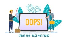 Computer Internet Error Poster With Tiny People