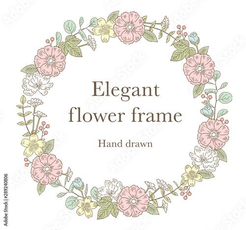 エレガントなペン画の花フレーム