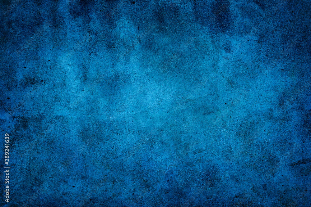 Fototapeta Rustic blue wall background with darker black grungy border and vintage texture design.