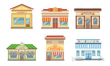 City Public Buildings Facades Set, Market, Pizza, Cafe, Bakery, Vector Illustration